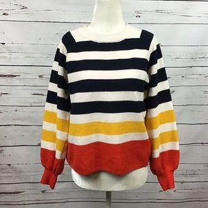 [Charlotte Russe] Striped Colorblock Crop Sweater